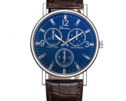 reloj-cronografo-fondo-azul-correa-cafe