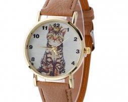 reloj-cuero-gato-cafe-claro