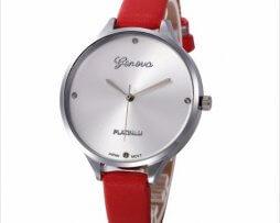 reloj-cuero-rojo-plateado-estilo-clasico