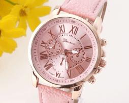 reloj-cronografo-cuero-rosado
